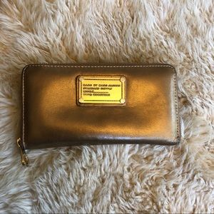 MARC by MARC JACOBS Gold Leather Large ZIP Wallet